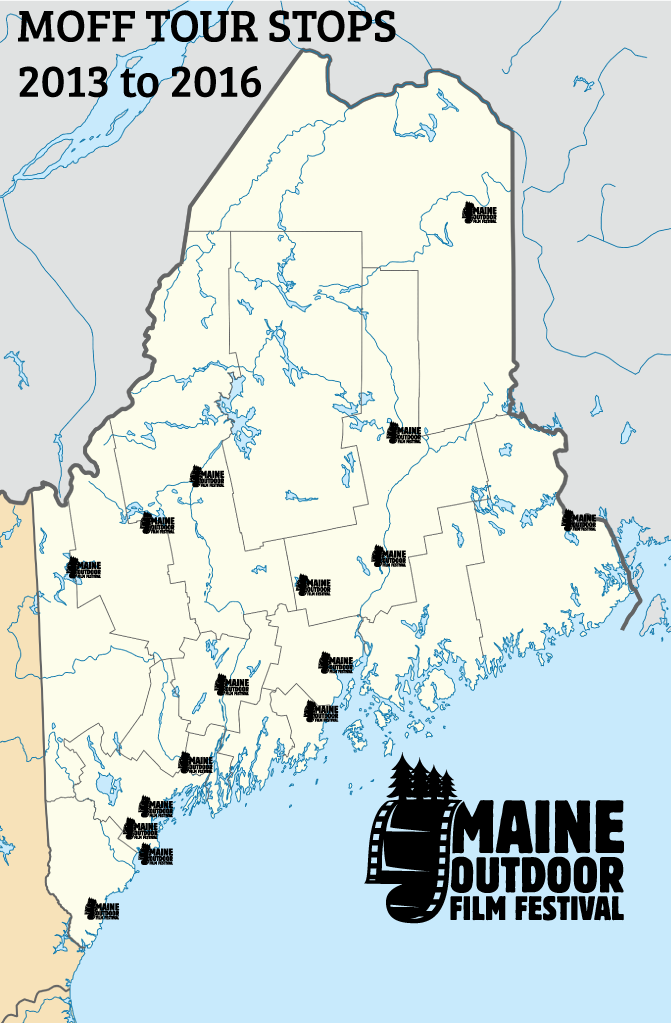 Maine Outdoor Film Festival Tour Map (2013-2016)
