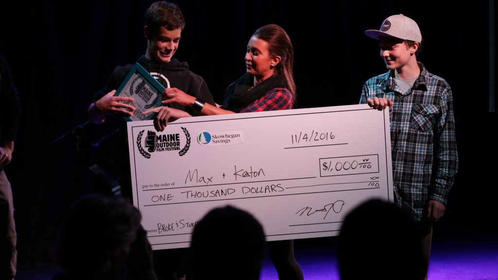 Grand Prize check presentation: filmmaker Max Tullgren, Skowhegan Savings' Fawn Wentworth, filmmaker Keaton Stone. Photo by Nick Bowie